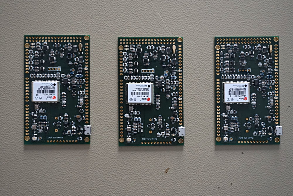 Three assembled and soldered GPS Timing Shields.