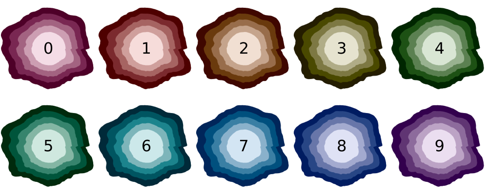 The color mapping of the magnitudes. The number represents the earthquake magnitude. Logos in grayscale indicate that no earthquake happened during the computed timespan.