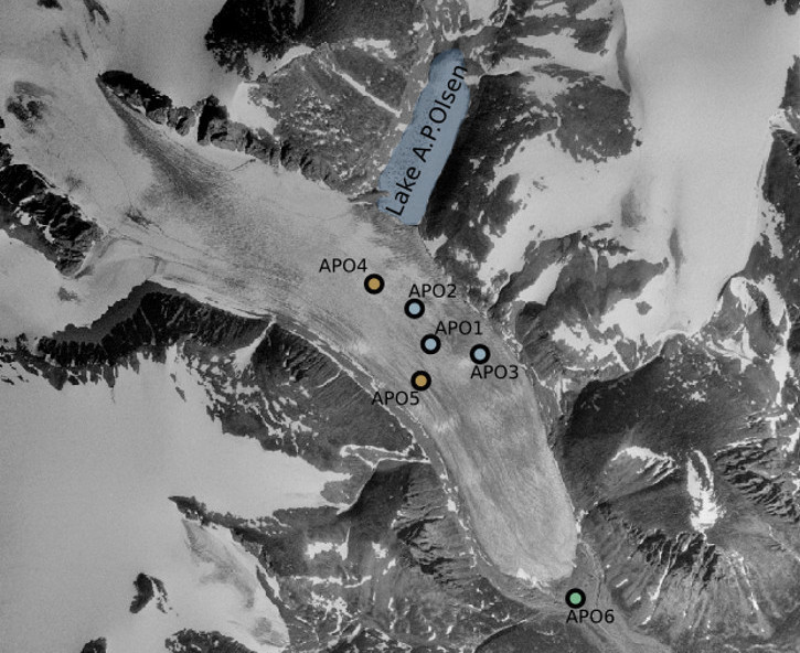 The seismic monitoring network at the A.P.Olsen ice cap consisting of five seismic and global navigation satellite system (GNSS) stations on the glacier and one GNSS base station at the glacier front.